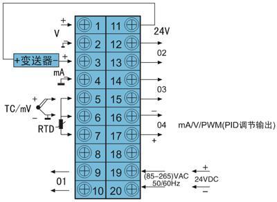 三,dy2000 液晶显示自整定pid调节数字仪表接线图