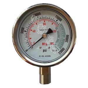 AXCG-100BFM超高压不锈钢耐震压力表160Mpa 23200PSI