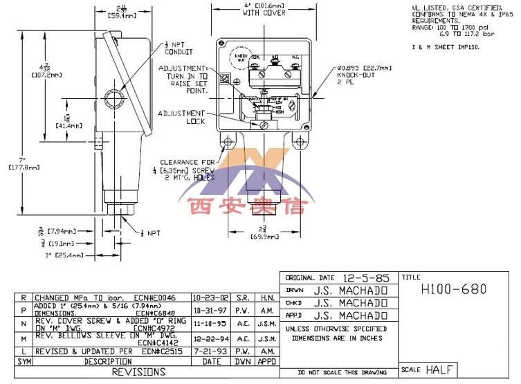 咨询焊接316L不锈钢波纹管压力开关H100-680美国UE压力开关H100-680 SPDT不锈钢开关