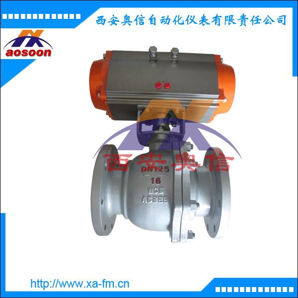 Q641F-16气动球阀 AXQ641F气动不锈钢法兰球阀